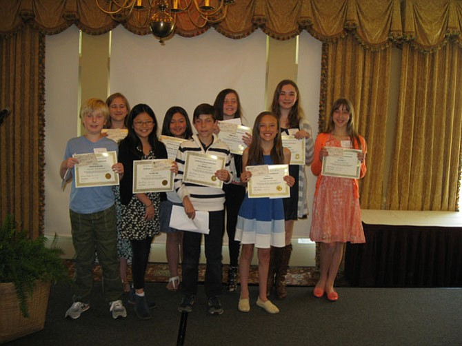 Nine student winners from Great Falls Elementary School at the Poetry Luncheon sponsored by the Great Falls Friends and Neighbors. (Pictured are): Fourth Grade Division -- Peyton Walcott, 1st; Preston Brown, 2nd; and Claire Kim, 3rd. Fifth Grade Division -- Emma Wolff, 1st; Vanessa Jade Duchauffour, 2nd; and Julia Moore, 3rd. Sixth Grade Division -- Ava Reilly, 1st; Lexie Perez, 2nd; and Erin Kalinsky, 3rd.