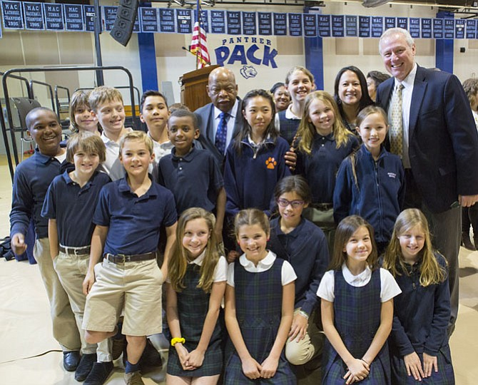 Congressman John Lewis with members of the Potomac School community, including Head of School John Kowalik (far right).