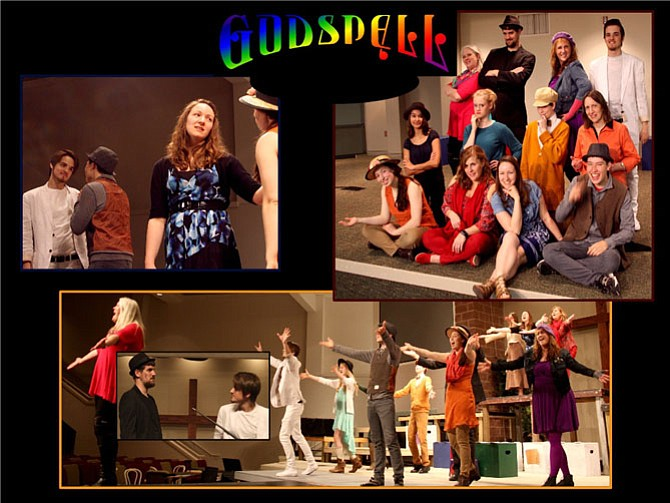 """Top left: The Prodigal and brother reconcile (Patrick Moresco,  Jared Okada, Julie Judd, Anna Briggs). Top right: Godspell Cast, from left, first row: Anna Briggs, Nancy McGovern, Julie Judd, Jared Okada; second row:  Jemimah Rajack, Amanda Holsinger, Joseph Briggs, Kate Anderson, third row: Carol Mills, Anthony Weaver, Gioia Albi, Patrick Moresco.  Bottom Picture:  Cast Sings """"God Save the People"""" inset Judas and Jesus (Anthony Weaver and Patrick Moresco)."""