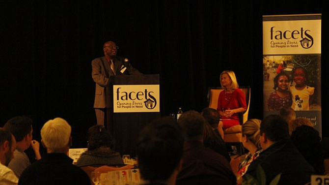Formerly homeless Leroy told the audience about how FACETS helped him begin recovery and find a home.