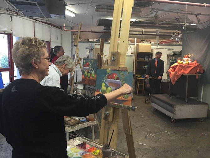 Artists practicing with an Art League program at the Torpedo Factory.
