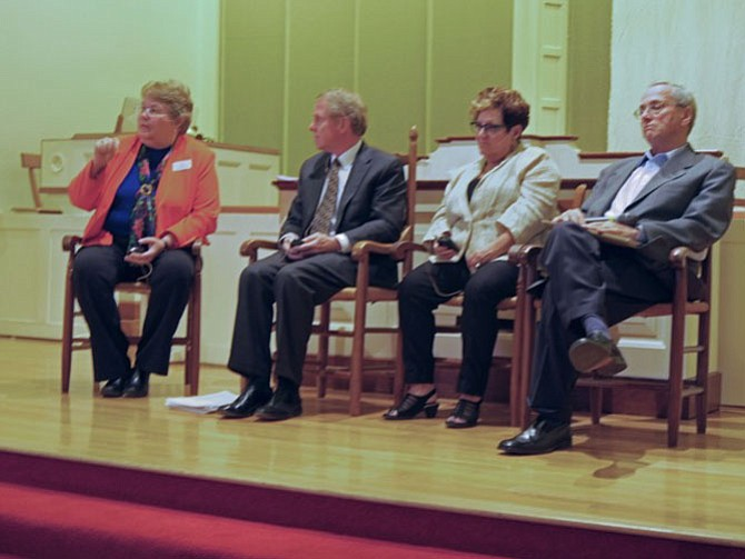 Panelists discuss Virginia parole policy at a Panel on Probation held April 20 at Rock Spring UCC. From left are Gail Arnall, Bill Richardson, Faye Taxman and Al Schuman.