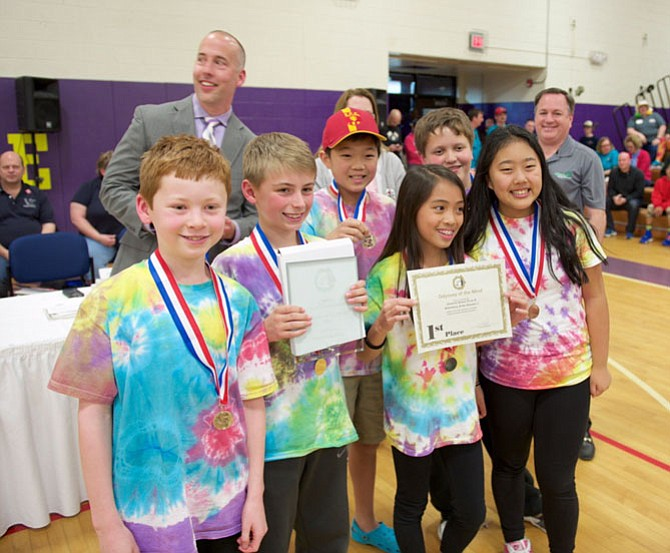 The Nysmith Brainy Bunch - Ashley Nguyen, Christian Schipma, Sean Gillen, Emma Jing, Spencer Huang and Chandler Wimmer - wins the Virginia State Odyssey of the Mind.