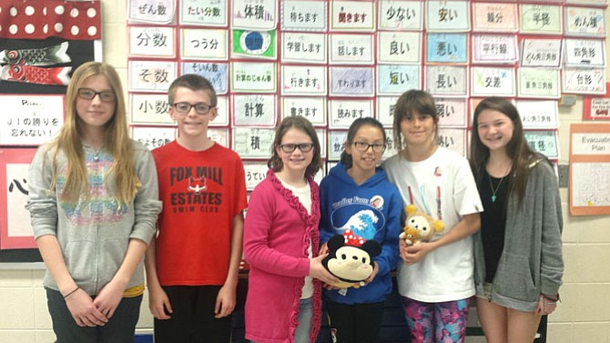 From left) Emma Setlik, Thomas Setlik, Rylee Gustafson, Laura Fujii, Sophia Galova, and Mara Redican all participate in the Japanese Immersion (J.I.) Program at Fox Mill Elementary School in Herndon.
