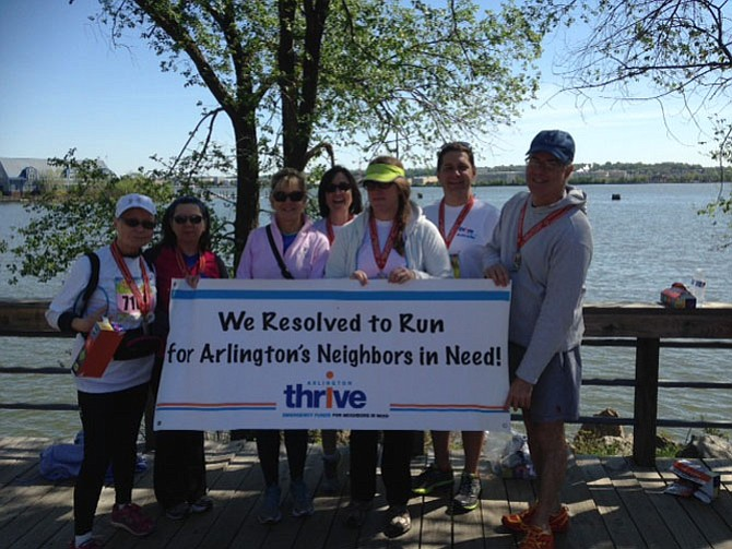 """""""Team Judie"""" ran to remember a friend and fellow member of the First Presbyterian Church. Judie had run the 5K to raise funds for Arlington Thrive last year, and her friends wanted to do this in her memory."""
