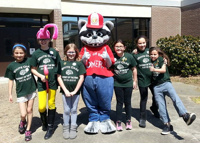 From left, Virginia Fife, Katelyn Sullivan, Emma Hrabak, OMER (Odyssey of the Mind mascot), Minah Sisco, Kasey Petrie and Reira Erickson.