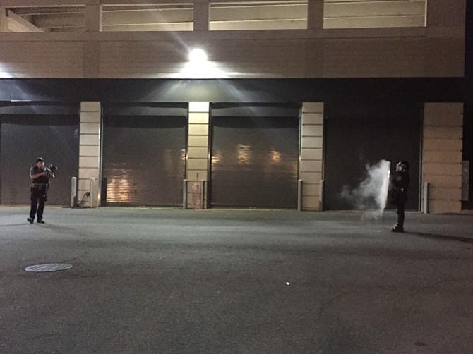 Alexandria's Civil Disturbance Unit displays shield and pepper-ball tactics.