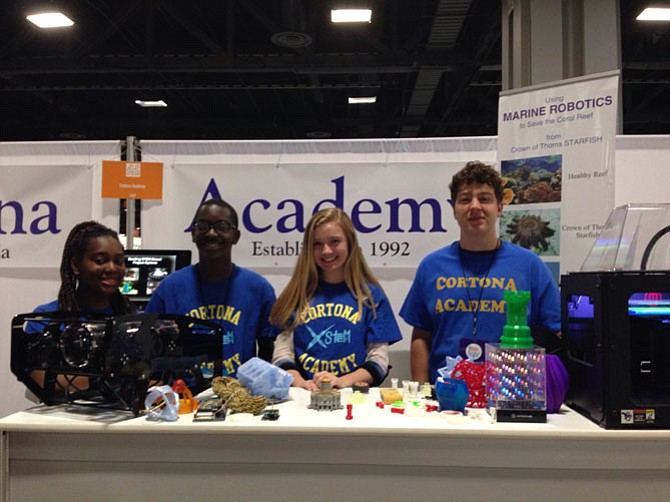 Cortona Academy students Araba Dadzie, Nana Dadzie, and Aedan Anders recently displayed projects from their STEM class at the 2016 USA Science and Engineering Festival in Washington, D.C. The projects include an underwater robot to help save the coral reef and items printed with one of Cortona's 3-D printers.