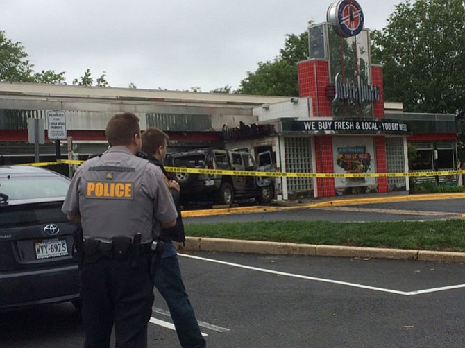 Silver Diner became a felony crime scene Wednesday, May 4, after a 59-year-old man drove his SUV into the restaurant and then set himself on fire, according to police reports.