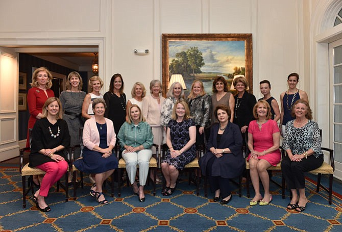 Past and current presidents of the Belle Haven Women's Club (front row, from left): Mary Elizabeth Duke, Reae Sargent, Judy Williams, Burson Snyder (current), Lura Nell Mitchell, Jane Andreae, Barbara Hayes. And (back row, from left): Isin Ludlow, Kathy McCarthy, Molly Singerling, Gayla Reed, Betty Heilig, Bryn Burke, Dedre Fiske, Betsy Micklem, Susan Neithamer, Kathy Nealon, Christine Washington, and Kara Cosby.