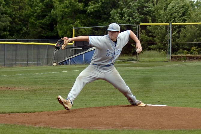 Centreville starting pitcher Carter Egbers struck out 12 in six innings against Herndon on Saturday.