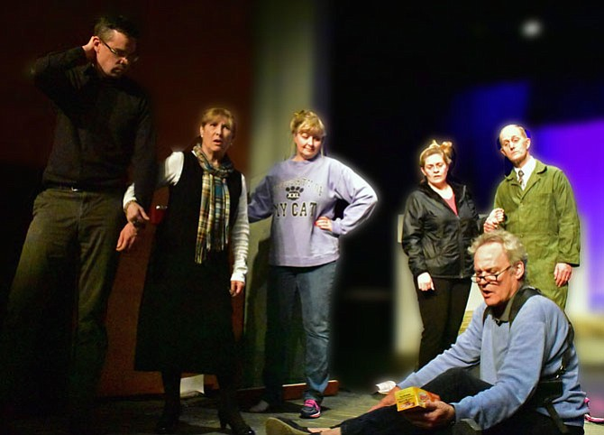 "From left -- Christopher Crockett, Tina Thronson, Liz Mykietyn, Charlene Sloan, James McDaniel, and Patrick David in rehearsal for the Providence Players production of ""Red Herring"" 
