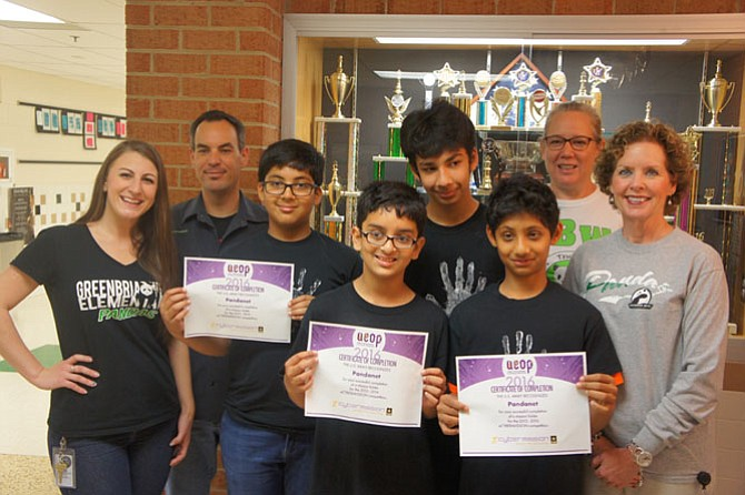 From left:  Greenbriar West Elementary School Language Arts and Social Studies Teacher Kasey Personius, Math and Science Teacher Brian Wiseman, students Siddharth Tibrewala, Aryan Kumawat, Aarav Bajaj, Siddharth Krishnan, Math and Social Studies Teacher Amy Krejcar, and Principal Lori Cleveland.