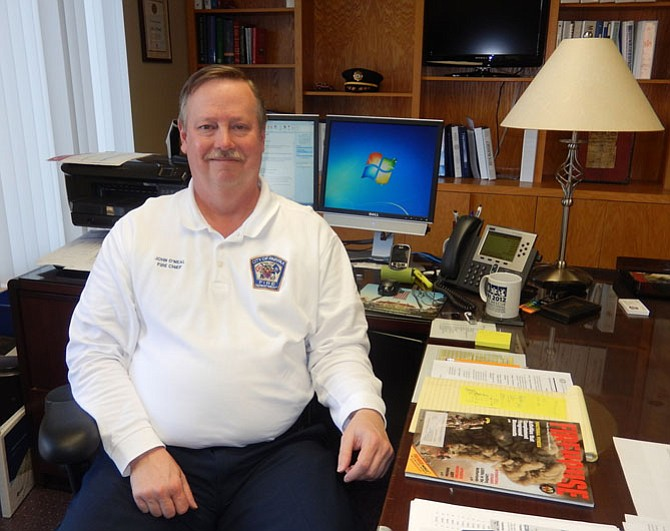 City of Fairfax Fire Chief John O'Neal in his office.