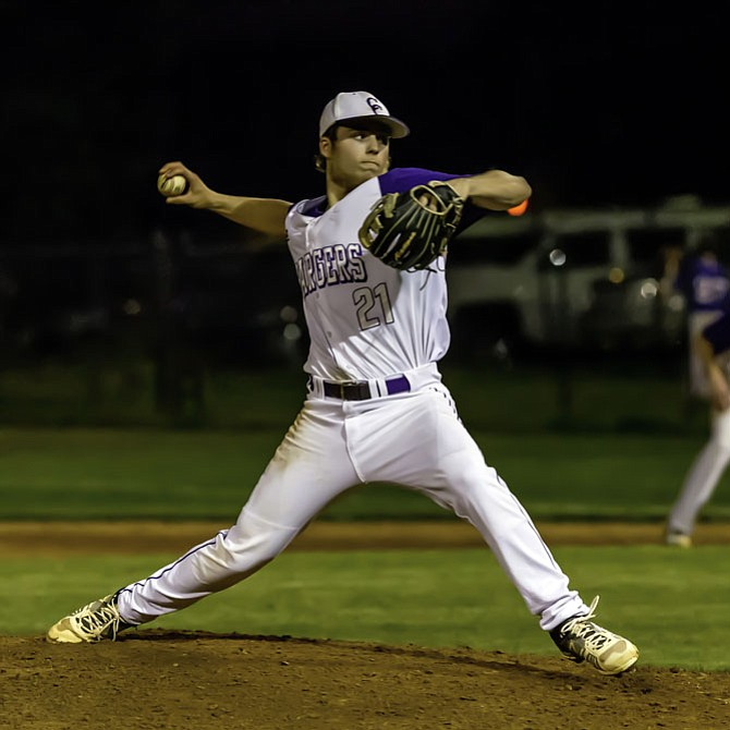 Chantilly pitcher Jared DiCesare threw a nine-inning complete game and earned the win against West Potomac on May 25 in the opening round of the 6A North region tournament.