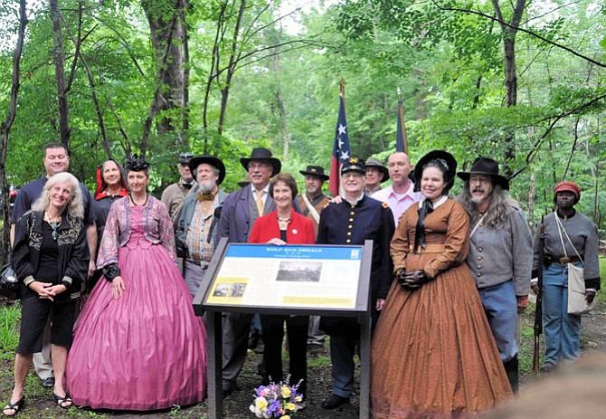 Dedicating a historical marker, fall 2014, at Wolf Run Shoals.