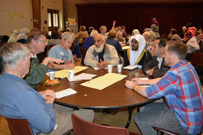 A joint meeting of the Mount Vernon Unitarian Church and the Islamic Center of North America - Virginia heard a presentation by Corey Saylor, director of the Department to Monitor and Combat Islamophobia at the Council on American-Islamic Relations, then held group discussions and posted proposals for further work together.