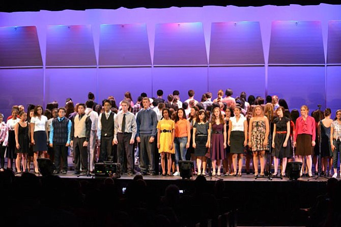 "Centreville High choral students perform their opening number in a previous ""Broadway Pops"" concert."