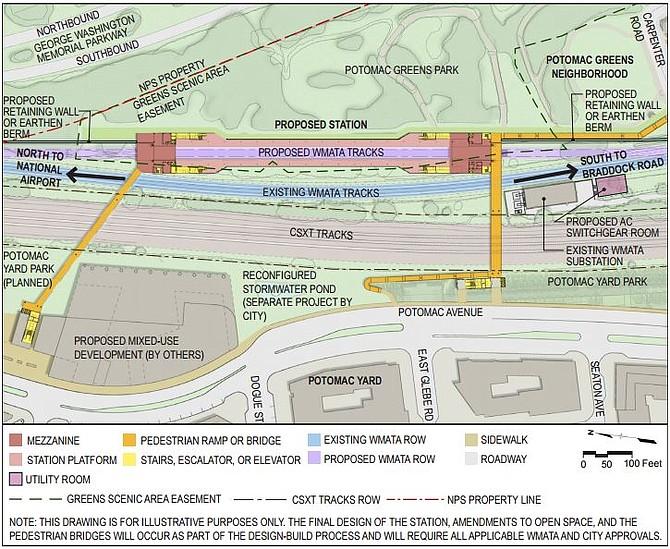 Map of proposed Potomac Yard metro design
