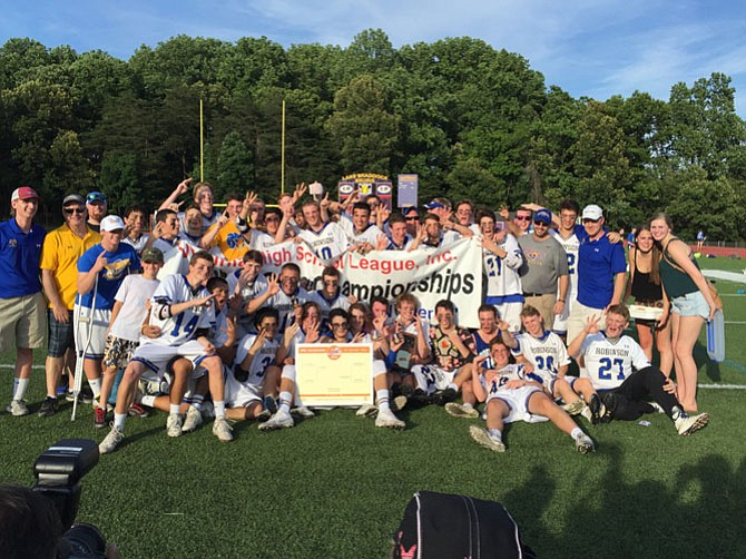 The Robinson boys' lacrosse team won its third consecutive state championship with a 14-2 victory over James River on Saturday at Lake Braddock Secondary School.