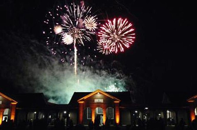 A patriotic display of fireworks at the Lorton Workhouse Arts Center.