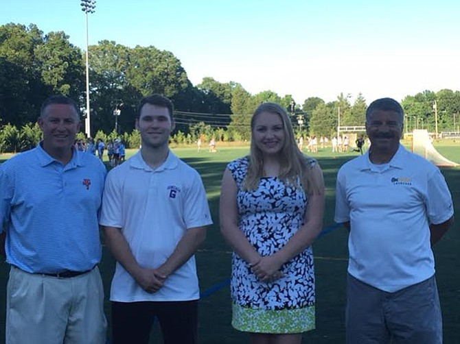 Winners of the 2016 Jackson Casey Memorial Scholarships met June 14 at Carl Sandburg Middle School to pick up their $3,000 scholarship checks. From left are Sean Casey, Henry Chastain from Gonzaga College High School, Jessica Dorn from West Potomac High School, and John Stamos, interim president of the Fort Hunt Youth Athletic Association.