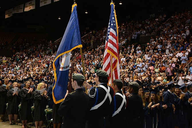 Junior ROTC members present the colors at the June 21 South County High School Graduation.