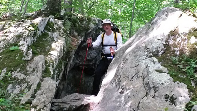 """The author transverses a tight pass. Just Bryan (trail name) said, """"If they can take you the hard way, they nearly always will …"""" of the trail managers."""