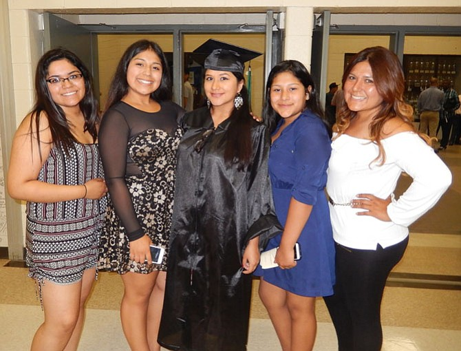 From left are Jalissa Chavarria, Karla Hernandez, grad Sara Galindo, Susan Aguilar and Sara's mom, Susan Vilchez.