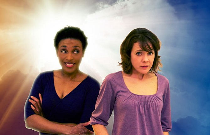"""Cast members of Hub Theatre's """"Redder Blood"""":  (from left) Dawn Ursula (as the Voice of God) and Jenna Sokolowski (as Sadie)."""