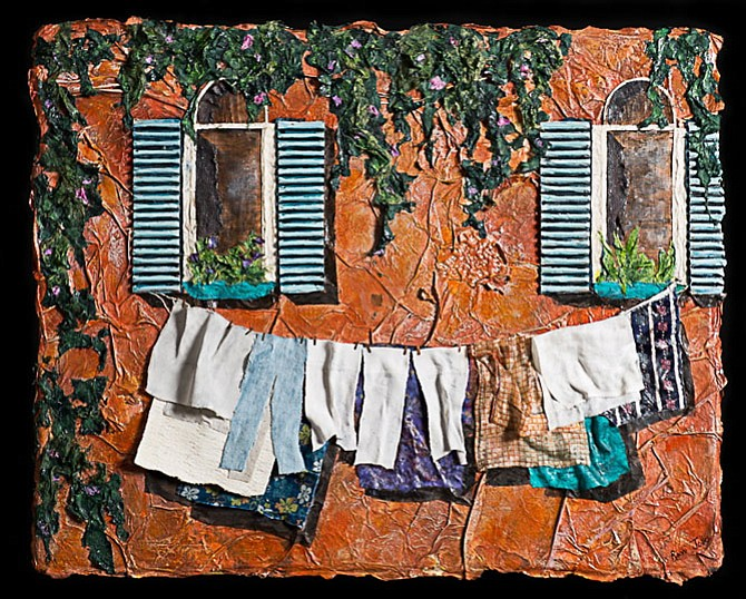 Ronni Jolles - Clothesline on a Hot Day, layered paper fabric & acrylic.