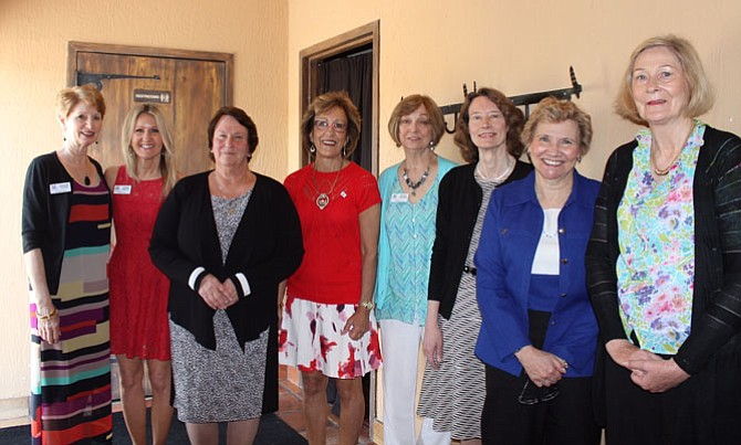 Newly elected 2016-17 board of directors posing with appointed Parliamentarian, Darlene Cooke.  Pictured from left are Darlene Cooke, Karen Amster, Jeanne Sclater, Linda Shilts, Kathy Jackson, Pat Thompson, Lynn Barron and Karen Craft. Board member not pictured - Nannette Henderson.