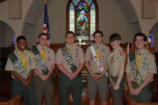 Six new Eagle Scouts, from left:, Kiran Hampton, Jack Langford, MJ Johnson, Andrew Howard, Robert Maloney, and Jonathan Canfield.