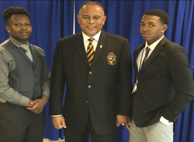 From left are Joseph Randiki, Laurel High School; Charles M. Coffin, Jr., ZUL Chapter mentor, and DaSean Gallishaw, Westfield High School, at Hampton University
