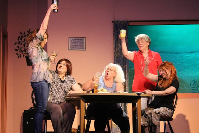"""From left: Edye Smith as Lexie, Janette Moman as Dinah, Lorraine Bouchard as Vernadette, Tina Anderson as Sheree, and Lise Downing as Jeri, in """"The Dixie Swim Club"""" presented by Aldersgate Church Community Theatre in Alexandria."""