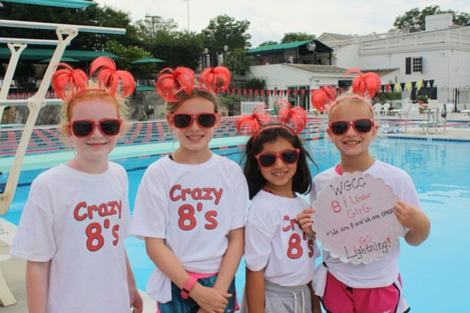 Girls 8&U record-breaking medley-relay team: Caitlin O'Connor, Kate Loper, Madeleine Steves, and Emme Yoder.