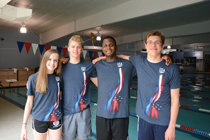 From left, Jasmine Hellmer, Sam Pomajevich, James Jones and Lane Stone from the Burke site of Nation's Capital Swim Club competed in the 2016 USA Swimming Olympic Trials held in Omaha.