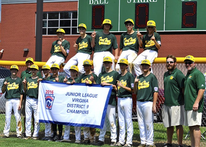The Fort Hunt Little League Baseball Juniors Team: Back row, Nick Sanderson, Jacob Trumbo, Joey English, Albert Pallasch, Dom Holmes Front Row, Joey Castrillli, Tony Castrilli/Coach, Cole Dilliplain, Nick Sanderson, Michael Ghattas, Eli Owens, Gabe Tose, Justin Bassett, Luke Catanzaro, Henry Dean, Andrew Tessier/Coach, and Joe English/Coach.