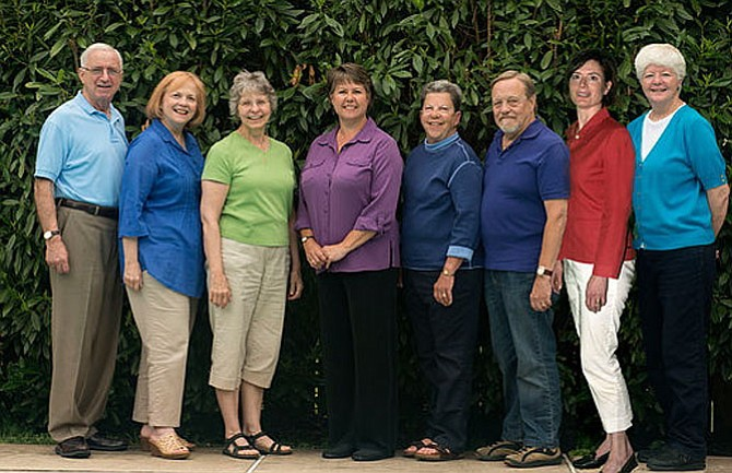 The Peace Mountain Theatre Company steering committee, from left:  Hal Freed, Laurie Freed, Leah Mazade, Natalie McManus, Peri Schuyler, Steve Alkire, Kristin White, and Nancy Eynon Lark.