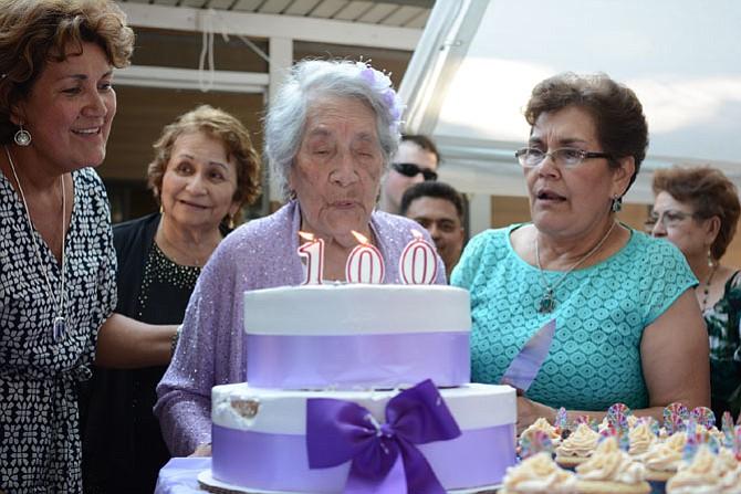 From left -- Maria Leonzo (daughter), Lady Emigdia (niece), Maria Vicenta Ayala (birthday girl), Maria Elvira Rodriguez (daughter).
