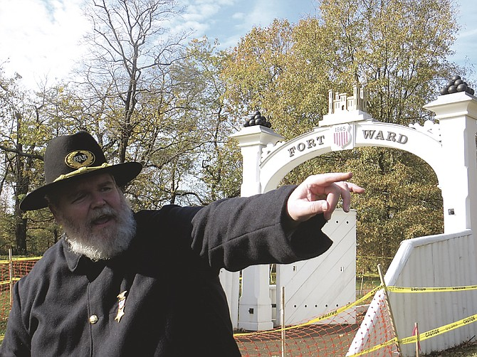 Kevin Moriarty guides tour at Alexandria's Fort Ward
