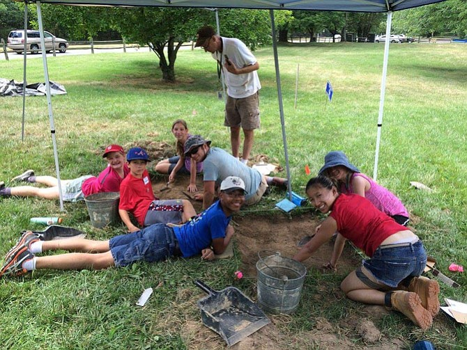 Campers participating in the Alexandria Archaeology summer Camp excavated a Post-Civil War African American community at Fort Ward Park.