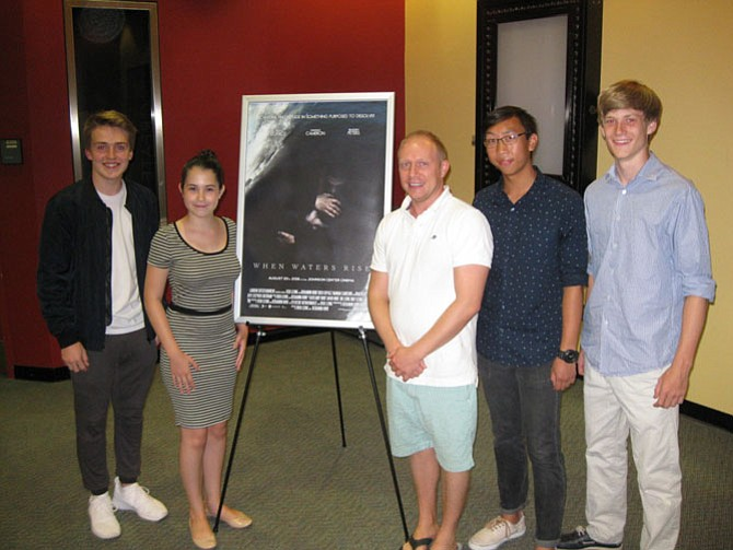 From Left: Benjamin Hunt, Hannah Cameron, Braeden Peters, Josh Leong, and Stephen Sheridan during the film premiere of 'When Waters Rise.'