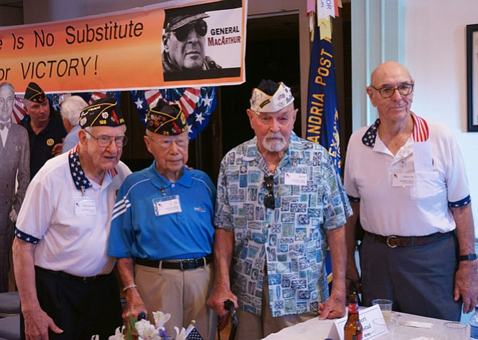 WWII veterans Robert Augustad, Kim Ching, Jay Groff and Warden Foley at the American Legion Post 24 Aug. 20 commemoration of V-J Day.