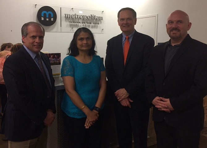 From left: Cos Dimaggio of Tauri Group of Fairfax Station;  Kusuma Aralere of Gainesville; David Patterson of Tech Enabled Solutions in Leesburg; and Jeff Lovett of Motley Fool of Alexandria.