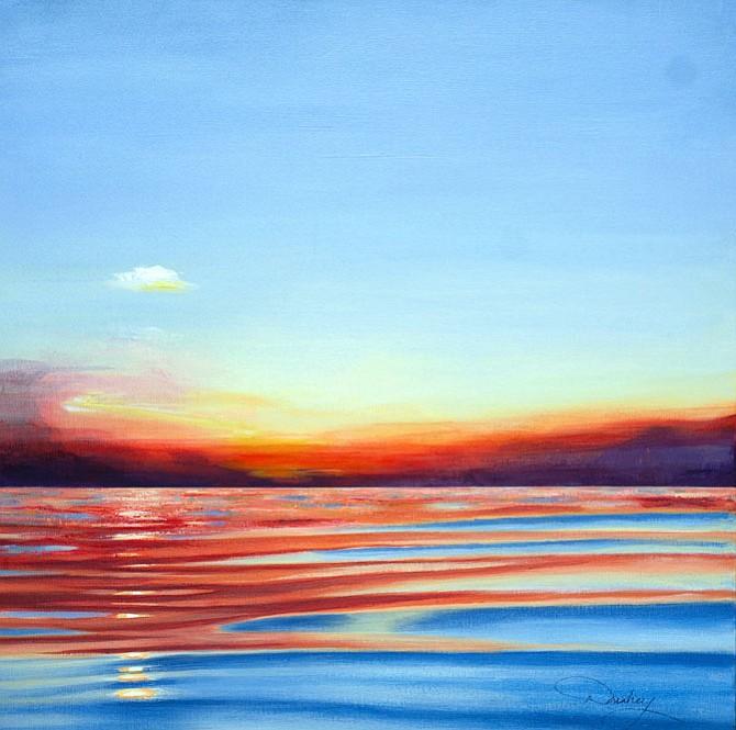 "Sunset Harbor, acrylic on canvas, 12"" x 12"" - by Dorothy Donahey, at Reston Art Gallery & Studios"