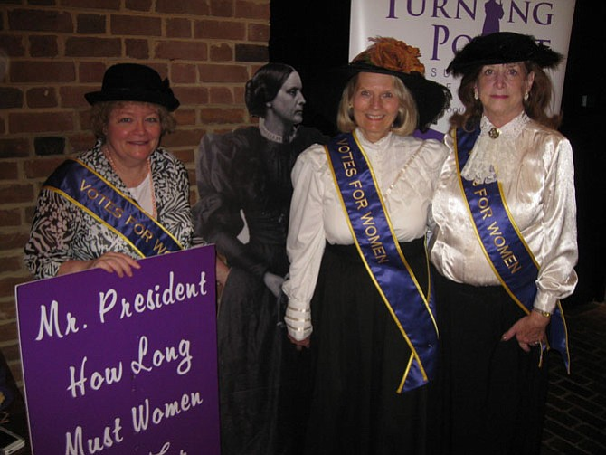 From left: Victoria Lipnic of Arlington; Pat Wirth, executive director of Turning Point Suffragist Memorial; and Kathleen Pablo, on the board of directors for Turning Point.