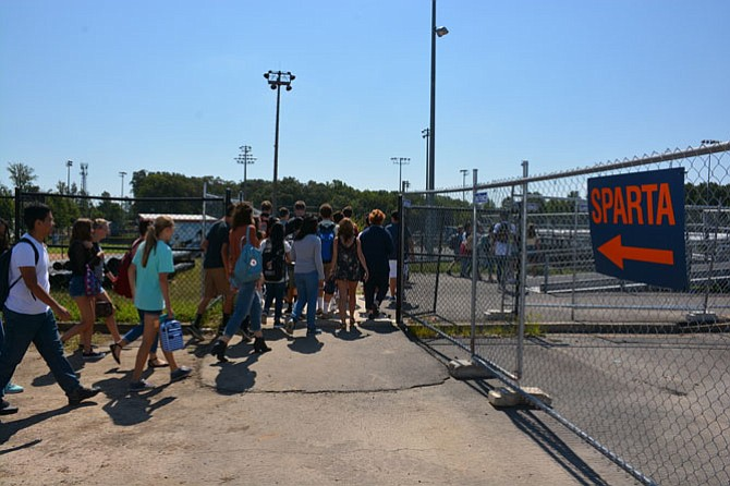"Due to renovation construction, students at West Springfield High School have been forced to find alternative places to park, as well as take classes in one of 54 trailers in a village behind the school now known as ""Sparta."""