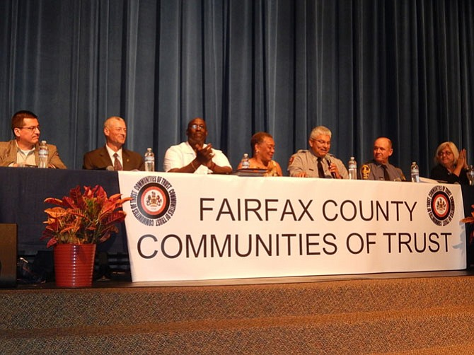 Panel members (from left) are Jorge Figueredo, Special Agent Keith Palli, the Rev. Milton Harding, Shirley Ginwright, Maj. Rich Perez, Lt. J-P. Koushel and Claire Gastañaga.