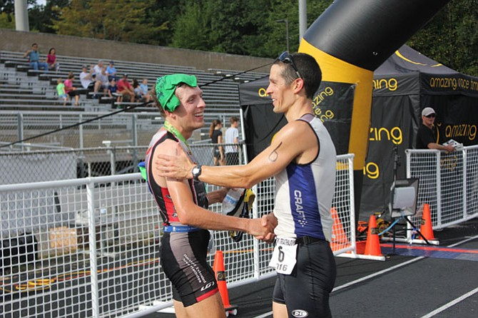 """I knew he was trouble when I saw him at the turn-around. Make sure to point out he was the one who got me,"" Jake Gramlich, Vienna, congratulates rival Tom McWalters, Manassas Park."